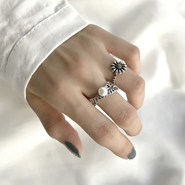 retro ring ancient silver ring women retro distressed small daisy ring double chain pearl open ring wholesale nihaojewelry NHYQ220157