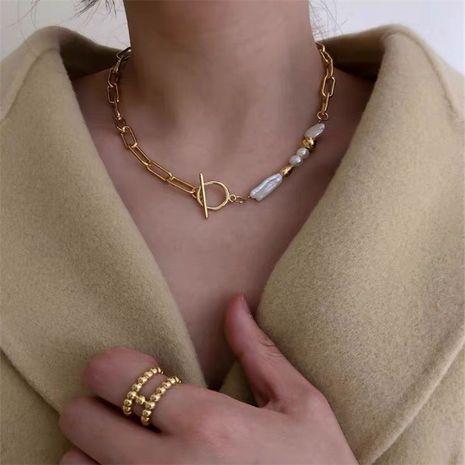 Corea único collar de perlas barrocas hebilla de cadena de metal collar de cadena de perlas al por mayor nihaojewelry NHYQ220163's discount tags