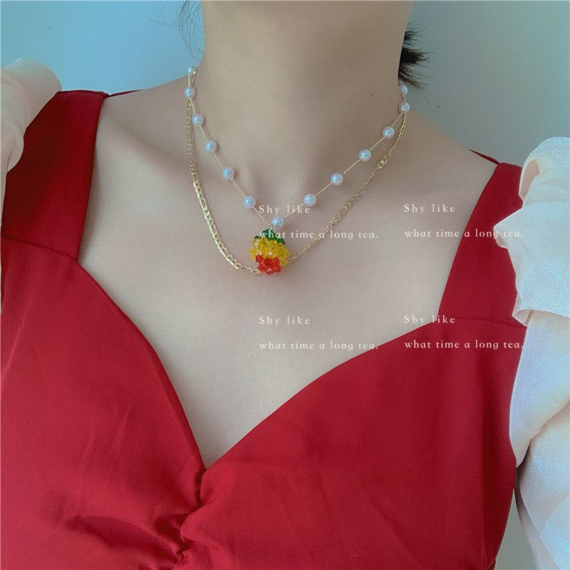 Korea new niche hand-made fruit orange necklace girl cute color beaded ear hanging wholesale nihaojewelry NHYQ220165