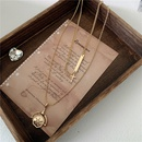 Korean new metal chain choker double necklace clavicle chain square brand cross fan pendant necklace wholesale nihaojewelry NHYQ220168