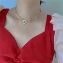 metal chain flower necklace Korean niche design sense clavicle chain exaggerated neck chain choker wholesale nihaojewelry NHYQ220170