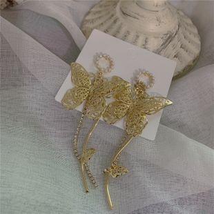 Pendientes de hadas de mariposa estilo palacio retro pendientes de mariposa de borla de diamantes hechos a mano al por mayor nihaojewelry NHYQ220173's discount tags