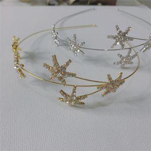 Korea's new flash diamond starry headband temperament girl style pentagram star hairpin simple headdress headband wholesale nihaojewelry NHYQ220178's discount tags
