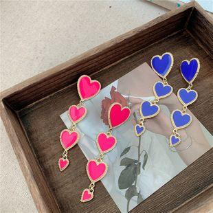 925 aguja de plata largos pendientes de amor rojos melocotón corazón pendientes de temperamento salvaje simple al por mayor nihaojewelry NHYQ220179's discount tags