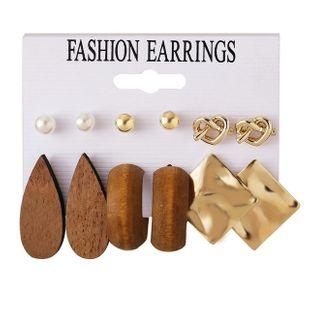 nuevos pendientes de amor de pieza cuadrada de metal de madera en forma de gota set 6 pares al por mayor nihaojewelry NHPJ220208's discount tags