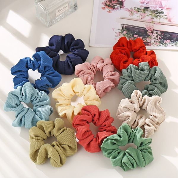 fashion hair scrunchies retro hair rope ring solid color cloth hair tie hair rope wholesale nihaojewelry NHPJ220212