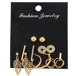 Pendientes de venta caliente set 6 pares de pendientes de hoja de metal simples retro creativos al por mayor nihaojewelry NHYI220220's discount tags