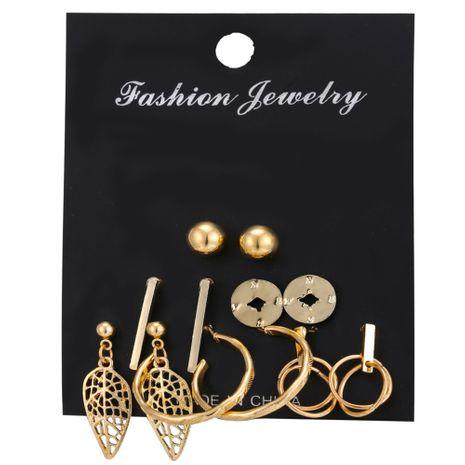 hot sale earring set 6 pairs of creative retro simple metal leaf earrings wholesale nihaojewelry NHYI220220's discount tags