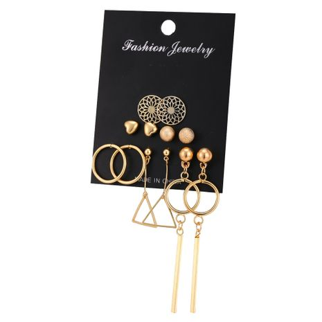 hollow pattern peach heart geometry earrings set 6 pairs creative retro simple earrings  wholesale nihaojewelry NHYI220221's discount tags