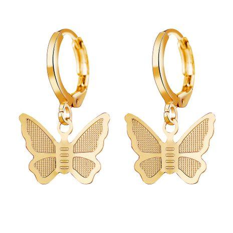 hot sale alloy gold butterfly pendant earrings creative retro simple earrings wholesale nihaojewelry NHYI220224's discount tags