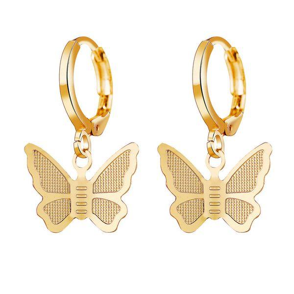 hot sale alloy gold butterfly pendant earrings creative retro simple earrings wholesale nihaojewelry NHYI220224
