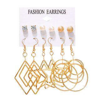 Pendientes de venta caliente set 6 pares de pendientes de múltiples elementos creativos de perlas simples de cinco puntas con múltiples elementos al por mayor nihaojewelry NHYI220225's discount tags