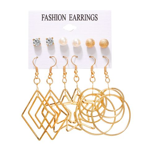 hot sale earring set 6 pairs of creative simple pearl five-pointed star circle multi-element earrings wholesale nihaojewelry NHYI220225's discount tags