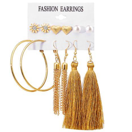 flowers love big circle tassel earrings set 6 pairs earrings creative retro simple earrings wholesale nihaojewelry NHYI220226's discount tags
