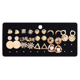Nueva joyería creativa retro simple luna geométrica flor pendientes de diamantes de imitación conjunto al por mayor nihaojewelry NHYI220227's discount tags