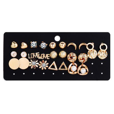 new jewelry creative retro simple geometric moon flower rhinestone earrings set wholesale nihaojewelry NHYI220227's discount tags