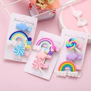 Korean cute sweet rainbow lollipop hairpin set 3 piece set creative simple color side clip wholesale nihaojewelry NHYI220233's discount tags