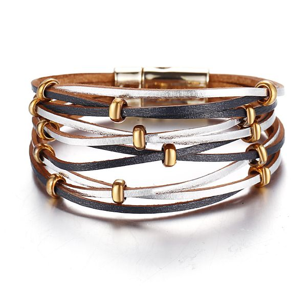 new bead cross artificial leather bracelet creative retro simple black men's bracelet wholesale nihaojewelry NHYI220240
