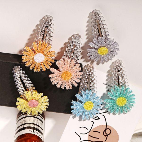 Sweet crystal first love crystal texture flower broken hair clip girl bangs top clip Korean simple wind edge clip wholesale nihaojewelry NHYI220243
