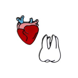 explosion brooch cartoon fashion creative heart tooth bag shirt clothing accessories broochwholesale nihaojewelry NHMO220246's discount tags