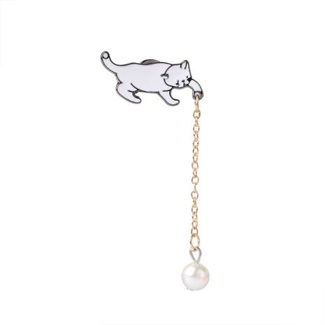 explosion models brooch creative cartoon cute anime cat pearl brooch kitten brooch student shirt accessories wholesale nihaojewelry NHMO220256's discount tags
