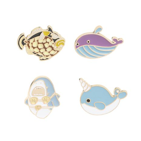 explosion models brooch hot selling cartoon cute fun whale narwhal shark ugly  brooch accessories wholesale nihaojewelry NHMO220265's discount tags