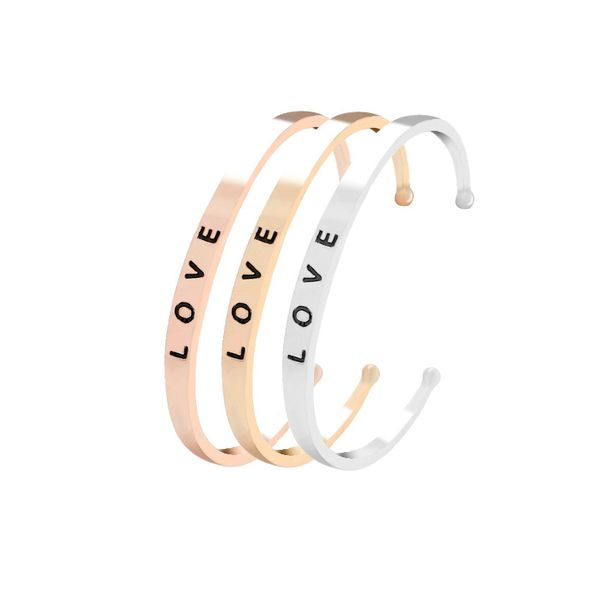 Explosion Bracelet Creative Letter I LOVE YOU Loving Wild Opening Bracelet wholesale nihaojewelry NHMO220269