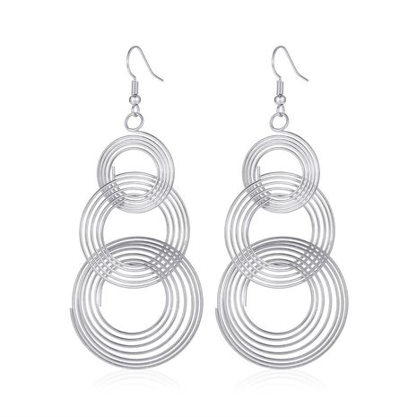 new earrings personality exaggerated retro large circle long section earrings metal multilayer circle earringswholesale nihaojewelry NHMO220271's discount tags