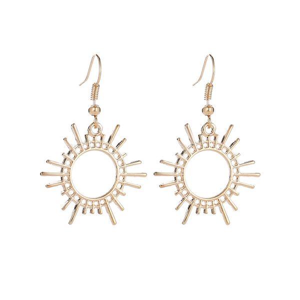 new earrings trend gear earrings creative geometric alloy jewelry sun earrings wholesale nihaojewelry NHMO220274