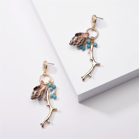 fashion jewelry branches alloy conch shell turquoise earrings exaggerated summer new earrings wholesale nihaojewelry NHLU220291's discount tags
