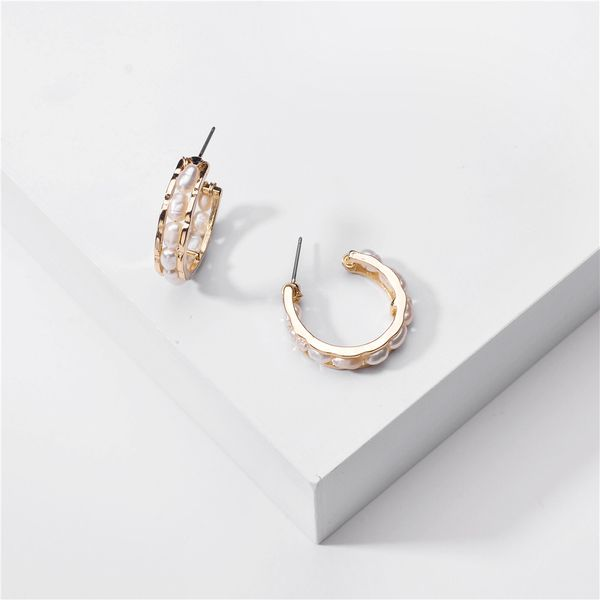 fashion big-name jewelry metal natural freshwater pearl winding earring wholesale nihaojewelry NHLU220299