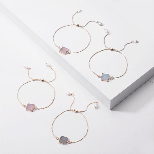 big jewelry natural powder crystal flash stone edging stone zipper strip bracelet wholesale nihaojewelry NHLU220301