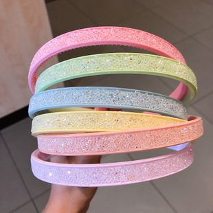 Small broken diamond candy color headband resin with toothed headband ladies makeup hairpin headdress Korean hair accessories wholesale nihaojewelry NHNA220332's discount tags
