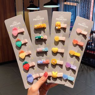 Color children's cloth duckbill clip acrylic soft ceramic hairpin cute girl baby clip hairpin headdress hair accessories wholesale nihaojewelry NHNA220334's discount tags
