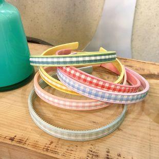 Korean fabric plaid headband  girl pressure hair headband simple fashion headband headdress hair accessories wholesale nihaojewelry NHNA220335's discount tags