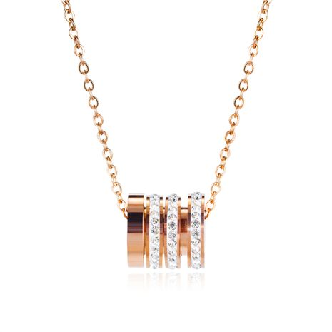fashion zircon stainless steel pendant rose gold clavicle chain necklace accessories jewelry wholesale nihaojewelry NHOP219955's discount tags