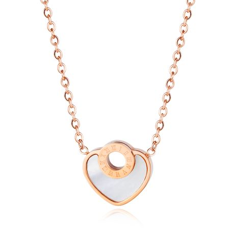 Nouveau coeur de pêche créatif coquille blanche collier de chiffres romains fille amour sauvage pendentif bijoux accessoires en gros nihaojewelry NHOP219957's discount tags