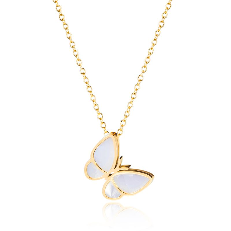 Korean butterfly necklace women clavicle chain niche design pendant temperament simple stainless steel necklace wholesale nihaojewelry NHOP219968