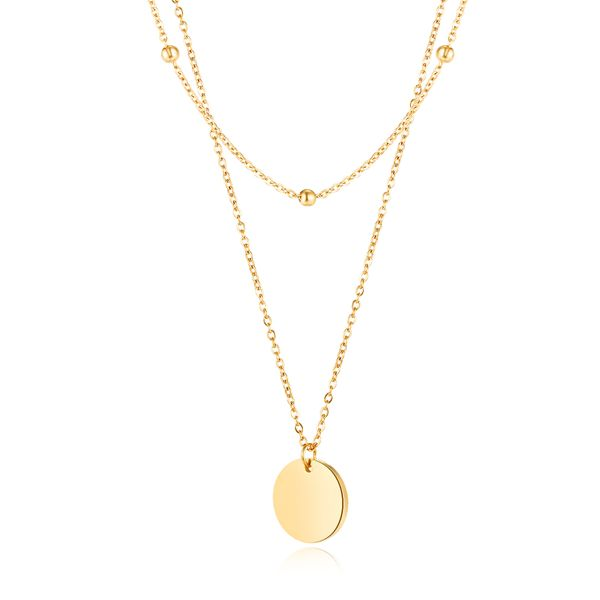 fashion jewelry classic wild double small bead chain glossy round pendant women's clavicle necklace wholesale nihaojewelry NHOP219970