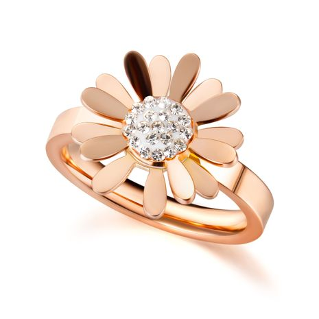 Korean small daisy flower ring women fashion garland diamond simple stainless steel flower rings  wholesale nihaojewelry NHOP219973's discount tags