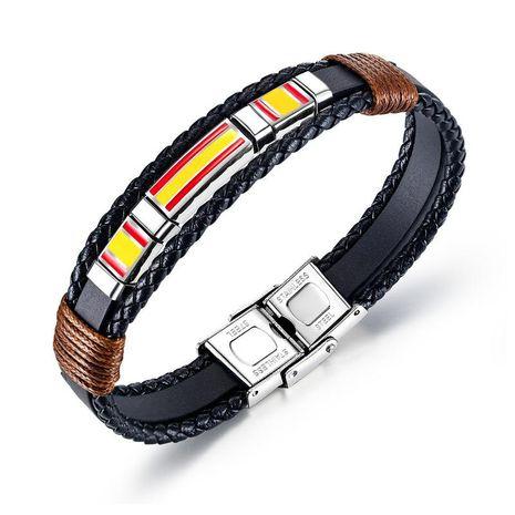 Mode rétro hommes multicouches tissé bracelet en cuir titane acier drapeau espagnol bracelet en cuir en gros nihaojewelry NHOP219978's discount tags