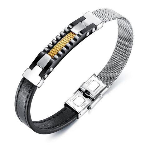 Vente chaude mode asymétrique maille ceinture ceinture en acier inoxydable bracelet en cuir en acier au titane bracelet en cuir pour hommes en gros nihaojewelry NHOP219982's discount tags