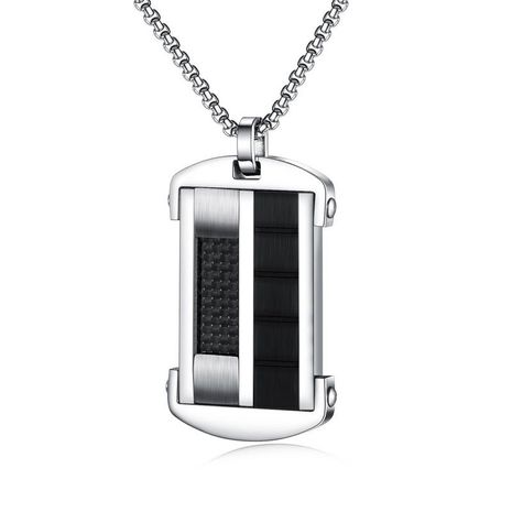 Fashion New Tag Personality Black Carbon Fiber Trendy Men's Military Pendant Men's Titanium Steel Necklace wholesale nihaojewelry NHOP219985's discount tags