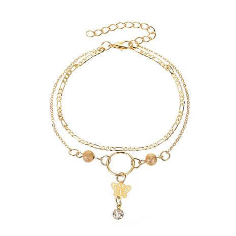 New super fairy tassel pendant hollow butterfly anklet frosty anklet summer beach double-layer foot ornaments wholesale nihaojewelry NHDP219988's discount tags
