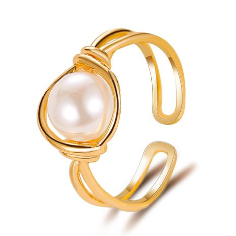 Korean pearl copper rings sweet simple pearl ring knotted mouth ring ladies index finger ring wholesale nihaojewelry NHDP219990's discount tags