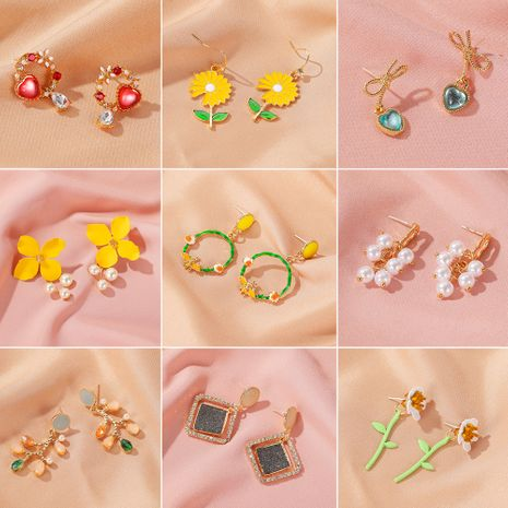 Summer forest sweet flower earrings wild crystal earrings earrings hit color earrings ear hook wholesale nihaojewelry NHDP219991's discount tags