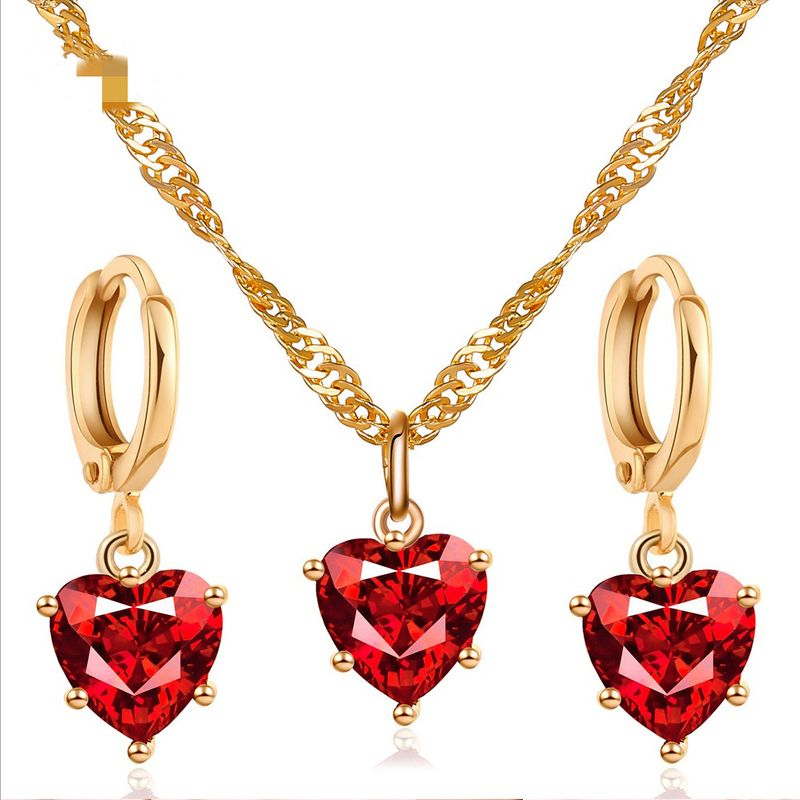 hot sale set jewelry temperament classic crystal zircon love necklace earrings wedding dinner accessories wholesale nihaojewelry NHDP219996