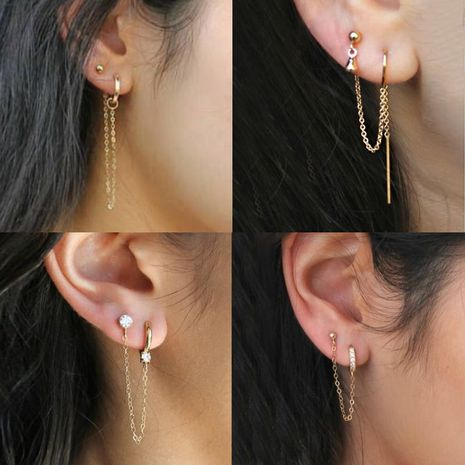 hot earrings personality simple earrings ear clip integrated earrings cold wind single tassel earrings wholesale nihaojewelry NHDP219997's discount tags