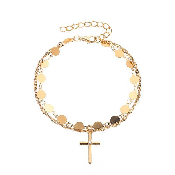 new temperament simple cross bracelet fashion disc double-layer ladies bracelet e-commerce explosion wholesale nihaojewelry NHDP220006