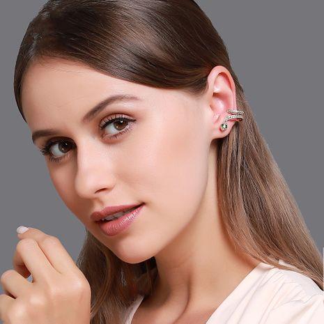 Korean style creative earrings personality micro-set zircon snake ear clips simple temperament snake winding earrings wholesale nihaojewelry NHDP220008's discount tags